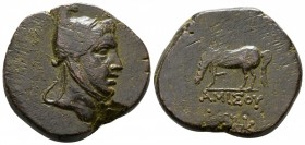 Bronze Æ>br>Pontos. Amisos, c. 85-65 BC, Head of Perseus to right, wearing Phrygian helmet / AMISOY Pegasos grazing left