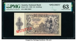 Austria Austrian National Bank 10 Schilling 1950 Pick 127s Specimen PMG Choice Uncirculated 63. Pinholes, printer's annotation, and perforation are pr...