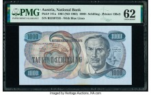 Austria Austrian National Bank 1000 Schilling 1961 (ND 1962) Pick 141a PMG Uncirculated 62. Stain.  HID09801242017  © 2020 Heritage Auctions | All Rig...