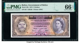 Belize Government of Belize 2 Dollars 1.6.1975 Pick 34b PMG Gem Uncirculated 66 EPQ.   HID09801242017  © 2020 Heritage Auctions | All Rights Reserved