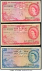British Caribbean Territories Currency Board 1 (2); 2 Dollars 1958 (2); 1955 Pick 7 (2); 8 Three Examples Fine. Annotations present on one $1 example....