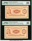 Denmark National Bank 100 Kroner 1970 Pick 46f Two Examples PMG About Uncirculated 50; Choice Extremely Fine 45.   HID09801242017  © 2020 Heritage Auc...