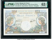 France Banque de France 1000 Francs 28.11.1940 Pick 96a PMG Choice Uncirculated 63 EPQ.   HID09801242017  © 2020 Heritage Auctions | All Rights Reserv...