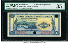 Guatemala Banco Central de Guatemala 1 Quetzal 1934-45 Pick 14cts Color Trial Specimen PMG Choice Very Fine 35. Cancelled with 2 punch holes and previ...