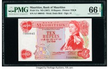 Mauritius Bank of Mauritius 10 Rupees ND (1967) Pick 31a PMG Gem Uncirculated 66 EPQ.   HID09801242017  © 2020 Heritage Auctions | All Rights Reserved...