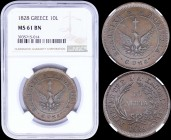 "GREECE: 10 Lepta (1828) (type A.1) in copper with phoenix with converging rays. Variety ""162-B.b"" by Peter Chase. Coin alignment. Inside slab by NGC ""..."