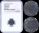 "GREECE: 1 Lepton (1830) (type B.2) in copper with (big) phoenix in pearl circle. Variety ""214-J.h"" (rare) by Peter Chase. Inside slab by NGC ""VF DETAI..."