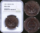 "GREECE: 20 Lepta (1831) in copper with phoenix. Variety ""513-V.v"" by Peter Chase. Inside slab by NGC ""MS 61 BN"". (Hellas 19)."
