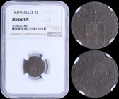 "GREECE: 2 Lepta (1839) (type I) in copper with Royal Coat of Arms and inscription ""ΒΑΣΙΛΕΙΑ ΤΗΣ ΕΛΛΑΔΟΣ"". Inside slab by NGC ""MS 62 BN"". (Hellas 45)...."