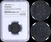 "GREECE: 5 Lepta (1840) (type I) in copper with Royal Coat of Arms and inscription ""ΒΑΣΙΛΕΙΑ ΤΗΣ ΕΛΛΑΔΟΣ"". Inside slab by NGC ""XF DETAILS - ENVIRONMENT..."