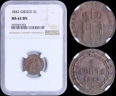 "GREECE: 2 Lepta (1842) (type I) in copper with Royal Coat of Arms and inscription ""ΒΑΣΙΛΕΙΑ ΤΗΣ ΕΛΛΑΔΟΣ"". Inside slab by NGC ""MS 62 BN"". (Hellas 47)...."
