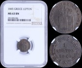 "GREECE: 1 Lepton (1845) (type II) in copper with Royal Coat of Arms and inscription ""ΒΑΣΙΛΕΙΟΝ ΤΗΣ ΕΛΛΑΔΟΣ"". Inside slab by NGC ""MS 63 BN"". (Hellas 32..."