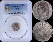 "GREECE: 1/2 Drachma (1855) (type II) in silver with head of King Otto facing left and inscription ""ΟΘΩΝ ΒΑΣΙΛΕΥΣ ΤΗΣ ΕΛΛΑΔΟΣ"". Variety: Dot below lett..."