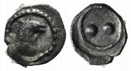 Sicily, Gela, c. 480/75-475/70 BC. AR Hexas of Dionkion (4mm, 0.09g). Horse's head r. R/ Two pellets (mark of value). Jenkins, Gela Group 2, 199-202; ...