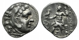 Kings of Macedon, Alexander III 'the Great' (336-323 BC). AR Drachm (18mm, 3.89g, 12h). Chios (?). Head of Herakles r., wearing lion's skin headdress....