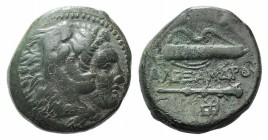 "Kings of Macedon. Alexander III ""the Great"" (336-323 BC). Æ (17mm, 5.67g, 3h). Sardes, c. 334-323. Head of Herakles r., wearing lion skin. R/ Bow in q..."
