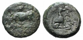 Thrace, Madytos, c. 350 BC. Æ (15mm, 3.17g, 5h). Bull butting l.; grape bunch above. R/ Hound seated r. SNG Copenhagen 923-4. Green patina, Fine