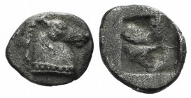 Asia Minor, Uncertain, 5th century BC. AR Hemiobol (8mm, 0.52g). Horse's head r. R/ Rough incuse square. Cf. Tzamalis 88 (Thraco-Macedonian mint); cf....