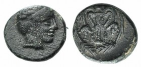 Bithynia, Kios, c. 3rd century BC. Æ (10mm, 1.34g, 12h). Head of Mithras r., wearing a laureate tiara. R/ Kantharos with two grape vines within wreath...