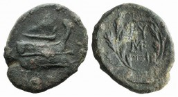 Mysia, Kyzikos, 3rd century BC. Æ (24mm, 10.19g, 12h). Prow r. R/ Ethnic and monogram within wreath. SNG BnF 438-9 var. (boukranion istead of monogram...