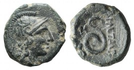 Kings of Pergamon, Philetairos (282-263 BC). Æ (15mm, 4.28g, 12h). Helmeted head of Athena r. R/ Coiled serpent. SNG BnF 1658; BMC 76-77. Green patina...