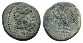 Mysia, Pergamon, c. 200-133 BC. Æ (23mm, 8.73g, 12h). Seleukos, magistrate. Laureate head of Asklepios r. R/ Eagle standing l. on thunderbolt, head r....
