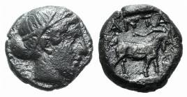 Troas, Antandros, late 5th century BC. AR Diobol (9mm, 1.72g, 3h). Head of Artemis Astyrene r. R/ Goat standing r. within incuse square. SNG von Auloc...