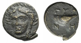Aeolis, Gyrneion, 4th century BC. Æ (12mm, 1.41g, 2h). Laureate head of Apollo facing slightly l. R/ Mussel shell. SNG von Aulock 7689. Minor weakness...