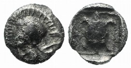 Lesbos, Methymna, c. 500/480-460 BC. AR Hemiobol (6mm, 0.32g, 2h). Helmeted head of Athena l. R/ Tortoise within dotted square border within incuse sq...