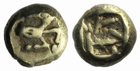 Ionia, Ephesos. Phanes, c. 625-600 BC. EL Myshemihekte – 1/24 Stater (4.5mm, 0.56g). Forepart of stag r., head reverted. R/ Abstract geometric pattern...