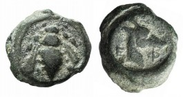 Ionia, Ephesos, c. 405-390 BC. Æ (7mm, 0.71g, 9h). Bee. R/ Head of stag r. SNG Kayhan 147-88; SNG München 34. Green patina, Fine