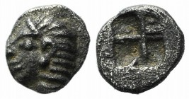 Ionia, Kolophon, late 6th century BC. AR Tetartemorion (4mm, 0.16g). Archaic head l. R/ Incuse square punch. SNG Kayhan 343-7; SNG von Aulock 1810. Go...