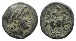 Ionia, Kolophon, c. 320-294 BC. Æ (18mm, 6.07g, 11h). Aelianas, magistrate. Laureate head of Apollo r. R/ Horseman riding r., holding lance; lyre behi...