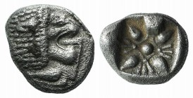 Ionia, Miletos, late 6th-early 5th century BC. AR Diobol (8mm, 1.10g). Forepart of a lion l., head r. R/ Stellate design within square incuse. SNG Kay...