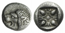 Ionia, Miletos, late 6th-early 5th century BC. AR Diobol (7.5mm, 1.15g). Forepart of a lion r., head l. R/ Stellate design within square incuse. SNG K...