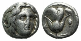 Islands of Caria, Rhodes, c. 205-190 BC. AR Drachm (11mm, 3.20g, 12h). Uncertain, magistrate. Head of Helios facing slightly r. R/ Rose with bud to r....