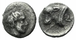 Satraps of Caria, Hekatomnos (c. 392/1-377/6 BC). AR Hemiobol (6mm, 0.32g, 3h). Bearded head of Hekatomnos r. R/ Head of bull l.; E behind. Unpublishe...