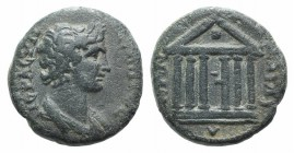 Lydia, Sardis. Pseudo-autonomous issue, AD 70-3. Æ (15mm, 3.47g, 12h). Draped bust of Senate r. R/ Hexastyle temple; globe in pediment. RPC II 1310; B...