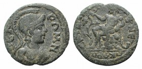 Lydia, Sardis. Pseudo-autonomous issue, 2nd-3rd century AD. Æ (19mm, 2.74g, 6h). Helmeted bust of Roma r. R/ Tmolos, naked, seated l. on rock, holding...