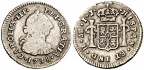 1788. Carlos III. Lima. IJ. 1/2 real. (AC. 146). 1,66 g. Golpecitos. (BC+/MBC-).