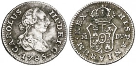 1785. Carlos III. Madrid. DV. 1/2 real. (AC. 171). 1,38 g. Golpecitos. Sombras. (MBC/MBC+).