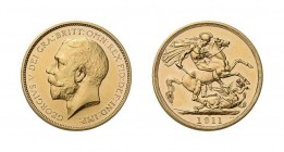 George V, 1910-1936. 2 Pounds 1911, London. Fb. 403. Selten. 14,7 g.f.