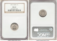 Republic Centavo 1961 MS65 NGC, Philadelphia mint, KM9.2. The final year for the type and of the First Republic, hardly a stray mark visible over the ...