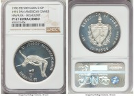 "Republic silver Proof Piefort ""High Jump"" 10 Pesos 1990 PR67 Ultra Cameo NGC, KM-P37. Mintage: 100. ""Pan-American Games - Havana"" issue.  HID098012420..."