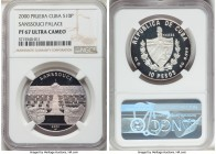 "Republic silver Proof Prueba ""Sanssouci Palace"" 10 Pesos 2000 PR67 Ultra Cameo NGC, KM-Pn120. The first of the type we have encountered and one of onl..."