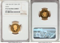 "Republic gold Proof Piefort ""Jose Marti"" 25 Pesos 1989 PR67 Ultra Cameo NGC, KM-P21. Mintage: 15. The first Proof example of this incredibly rare pief..."