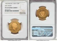 "Republic gold Proof Piefort ""Jose Marti"" 50 Pesos 1990 PR67 Ultra Cameo NGC, KM-P47. Mintage: 12. A piece which is rarely found meaningfully finer, as..."