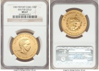 "Republic gold Piefort ""Jose Marti"" 100 Pesos 1989 MS67 NGC, KM-P28. Mintage: 10. The key rarity of this Jose Marti commemorative piefort series in gol..."