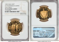 "Republic gold Proof ""XI Pan-American Games - Volleyball"" 50 Pesos 1990 PR67 Ultra Cameo NGC, KM323. Mintage: 15.   HID09801242017  © 2020 Heritage Auc..."