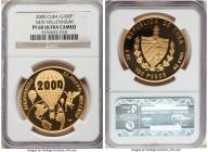 "Republic gold Proof ""New Millennium"" 100 Pesos 2000 PR68 Ultra Cameo NGC, KM713. Struck to an unknown mintage, though likely quite rare, featuring a f..."